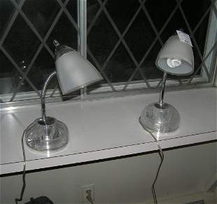 Pair of modern Lucite table lamps