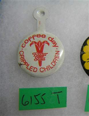 Easter Seals crippled children coffee day badge