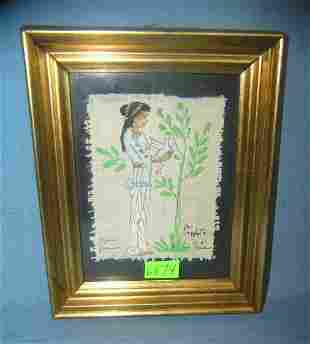 Native American indian framed painting