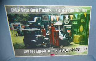 Old time gas station retro style photo sign