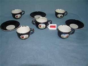 Antique 8 pc enameled porcelain over metal tea set