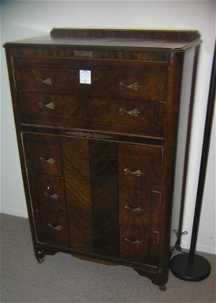 Antique walnut 5 drawer chest of drawers