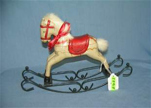 Hand painted wood and metal rocking horse