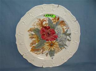 Floral hand painted 10 inch decorated wall plate
