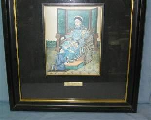 Silk Oriental art work matted and framed