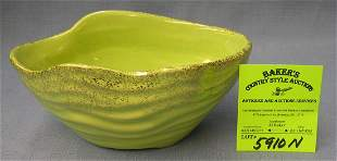 Green and gold decorated hand painted bowl