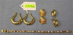 Group of gold plated jewelry pieces