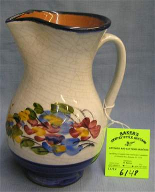 Vintage floral decorated earthenware Pitcher