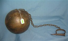 Antique style heavy ball and chain movie prop
