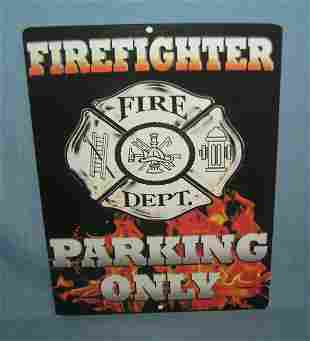 Fire Fighter Parking Only retro style advertising sign