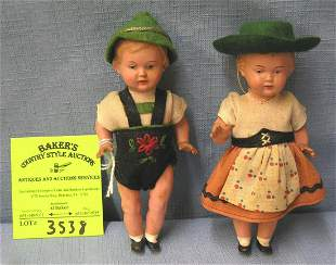 Pair of early celluloid Bavarian dolls