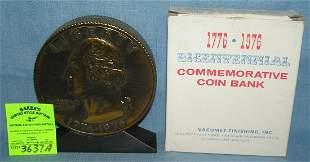 Vintage cast metal Benjamin Franklin coin bank
