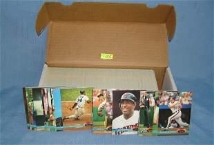 Box full of 1991 Topps stadium club baseball cards