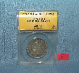 1877S Liberty seated half dollar graded AU55