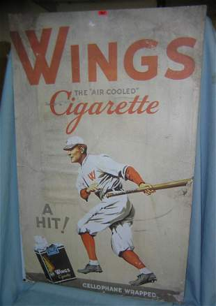 Large Wings cigarette baseball player themed retro