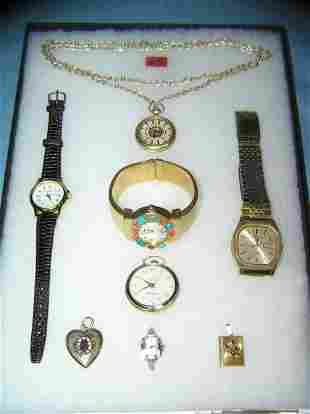 Collection of costume jewelry watches and lockets
