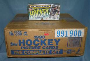 16 boxes of vintage 1990 Topps hockey card sets