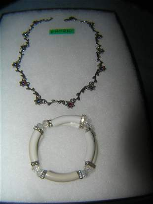 Costume jewelry necklace and bracelet group