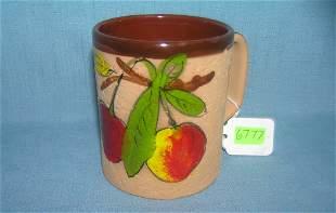 Italian made fruit decorated earthenware mug