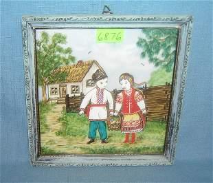 Vintage hand painted framed tile