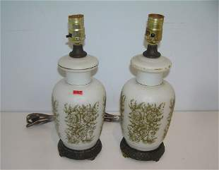 Pair of antique gold gild decorated table lamps