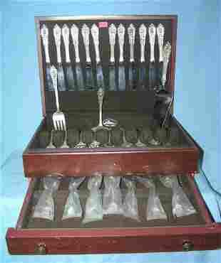 Wallace Rose pattern sterling silver flatware set