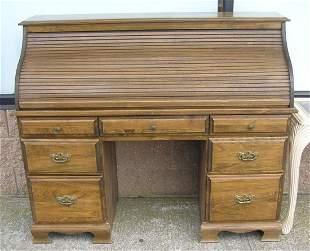Vintage modern era roll top desk solid wood circa