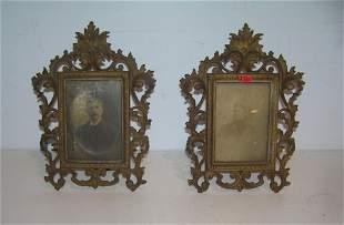 Antique bronze picture frames with antique photos
