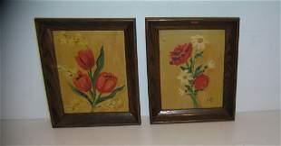 Oil on camvas oak framed paintings signed J. Koji