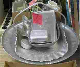 Antique hand hammered aluminum ware