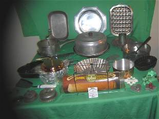 Large group of vintage baking and serving ware
