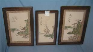 Group of 3 Asian silk framed panels