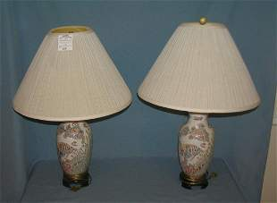 Asian themed fish decorated table lamps
