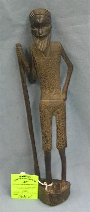 Antique hand carved African warrior/Wiseman