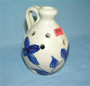 Artist signed cobalt blue mini stoneware jug