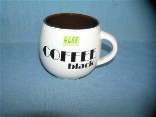 Vintage coffee black painted decorated coffee mug
