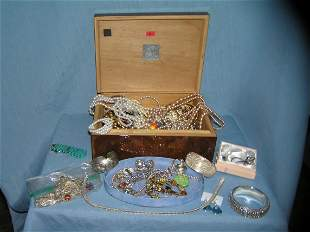 Large estate box full of vintage and costume jewelry