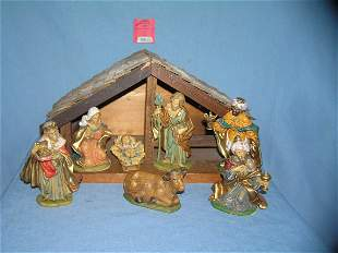Hand made wooden illuminated manger