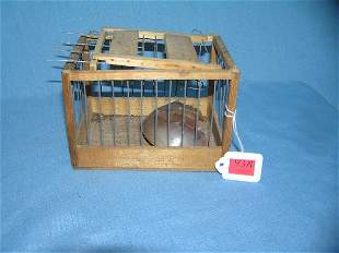 Antique wood and metal animal cage