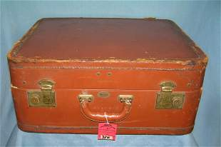 Antique leather travel luggage case
