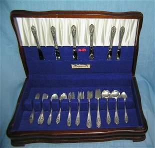 Queen's lace 35 piece sterling silver flatware set