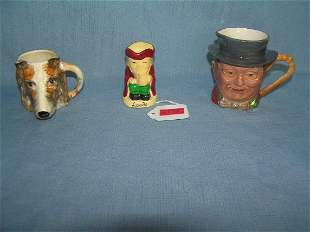 Group of vintage hand painted toby mugs