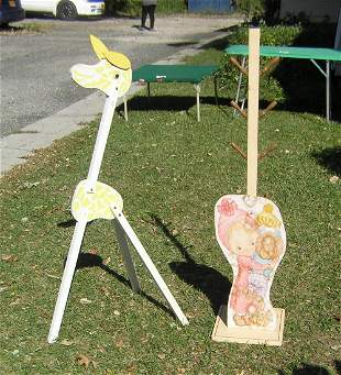 Pair of early wooden child's room display pieces