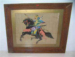 Antique Samurai Warrior painting on silk