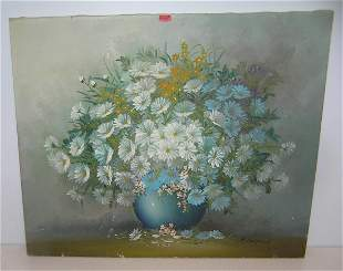 Floral oil on canvas painting signed R. Campton