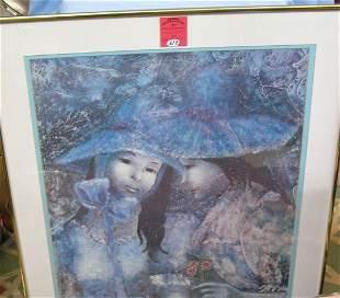 Artist signed print featuring Victorian women