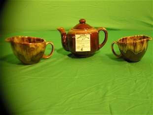 Art pottery 3 piece tea set