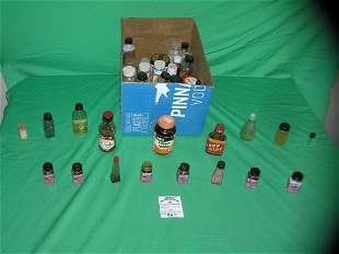 Box full of vintage estate miniature bottles