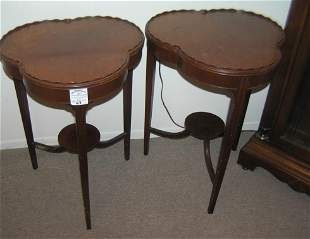 Pair of signed Wabash antique salnut side table