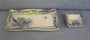 2 piece porcelain oriental dish and bowl set